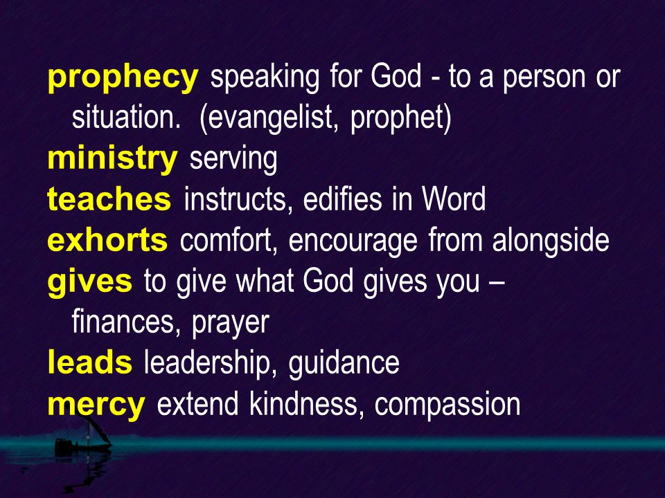 prophecy speaking for God - to a person or situation.