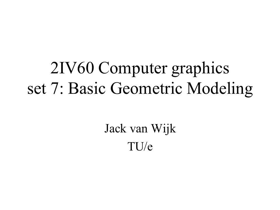2IV60 Computer graphics set 7: Basic Geometric Modeling Jack van Wijk TU/e