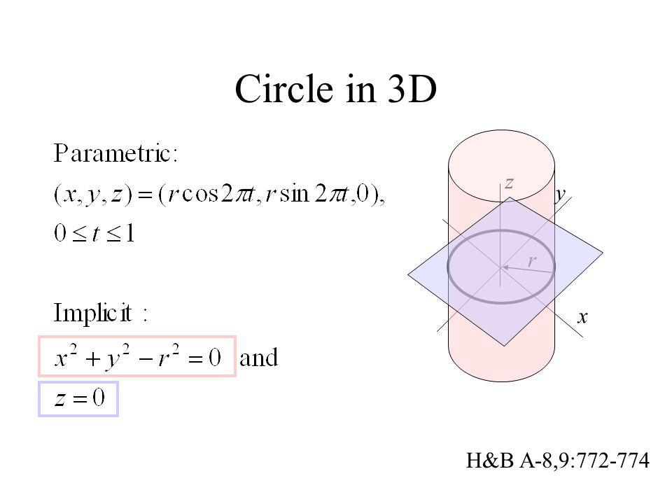 Circle in 3D x y r z H&B A-8,9:772-774