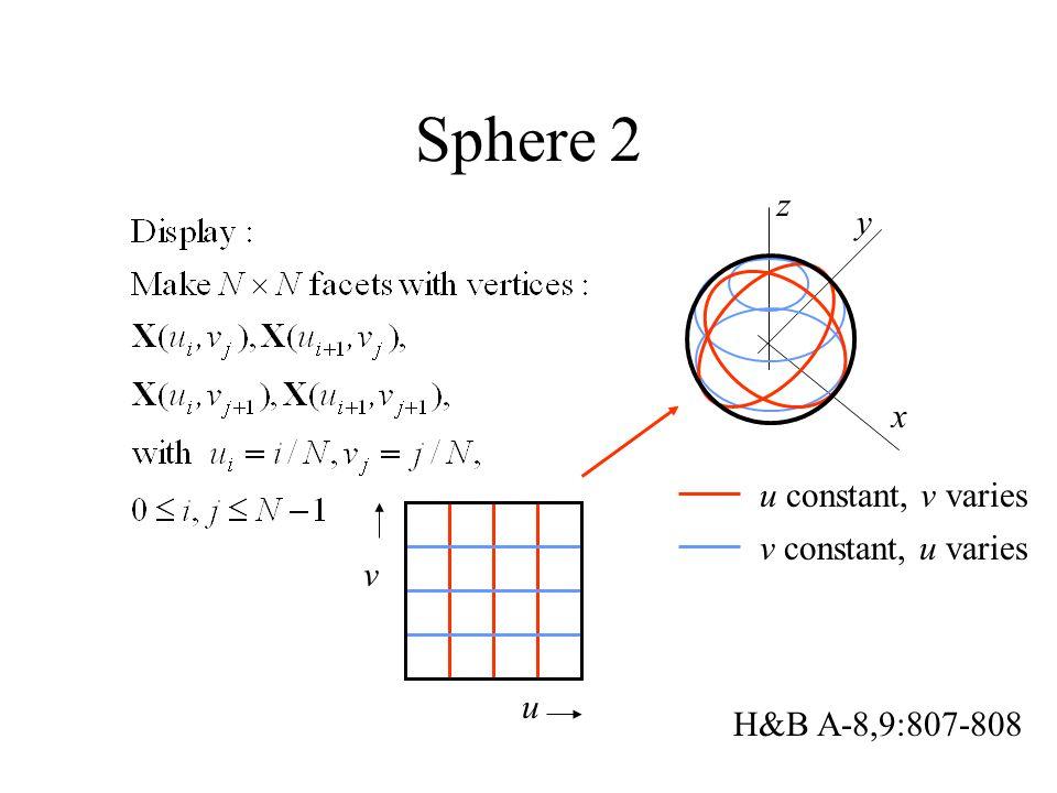 Sphere 2 x y H&B A-8,9:807-808 z v constant, u varies u constant, v varies u v