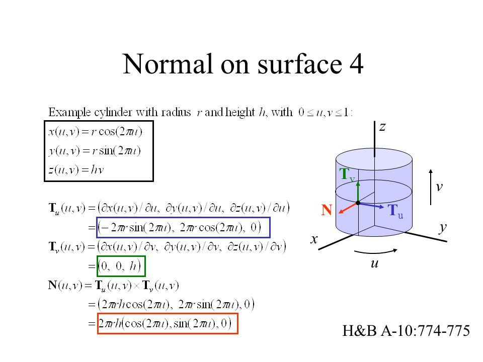 Normal on surface 4 x y z v u TuTu TvTv N H&B A-10:774-775