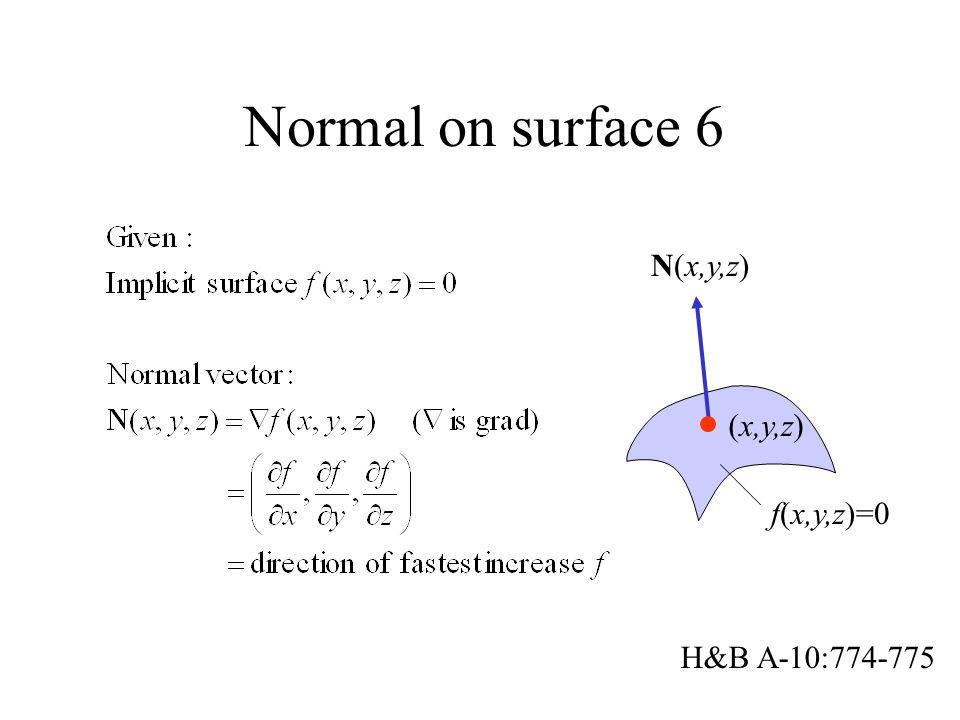 Normal on surface 6 N(x,y,z) (x,y,z) f(x,y,z)=0 H&B A-10:774-775