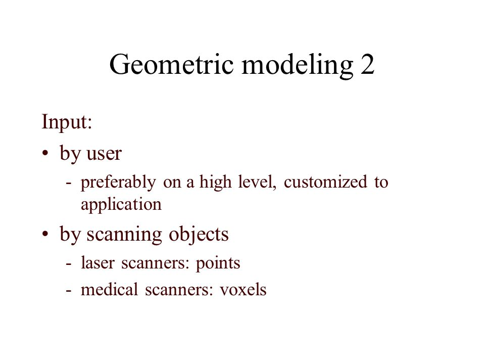 Geometric modeling 3 triangles User Scanner conversion graphics pipeline image 3D points, voxels Instructions, specifications