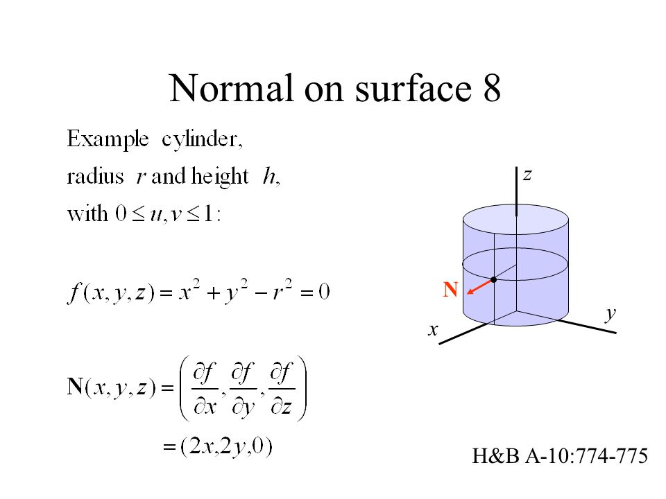 Normal on surface 8 x y z N H&B A-10:774-775