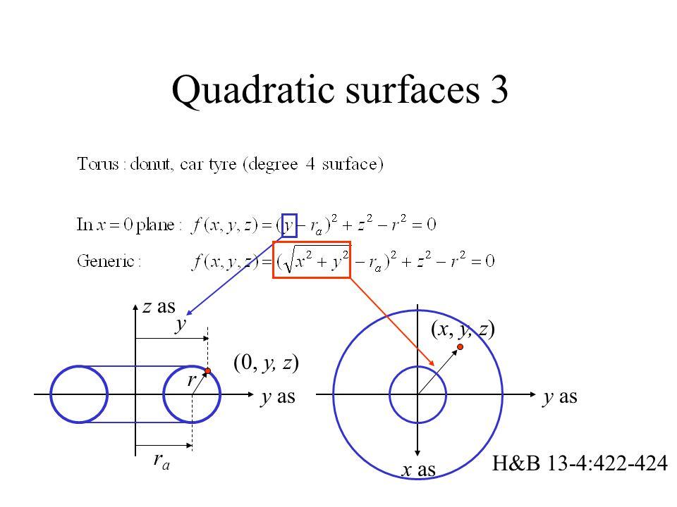 Quadratic surfaces 3 (0, y, z) y as rara r z as y (x, y, z) y as x as H&B 13-4:422-424