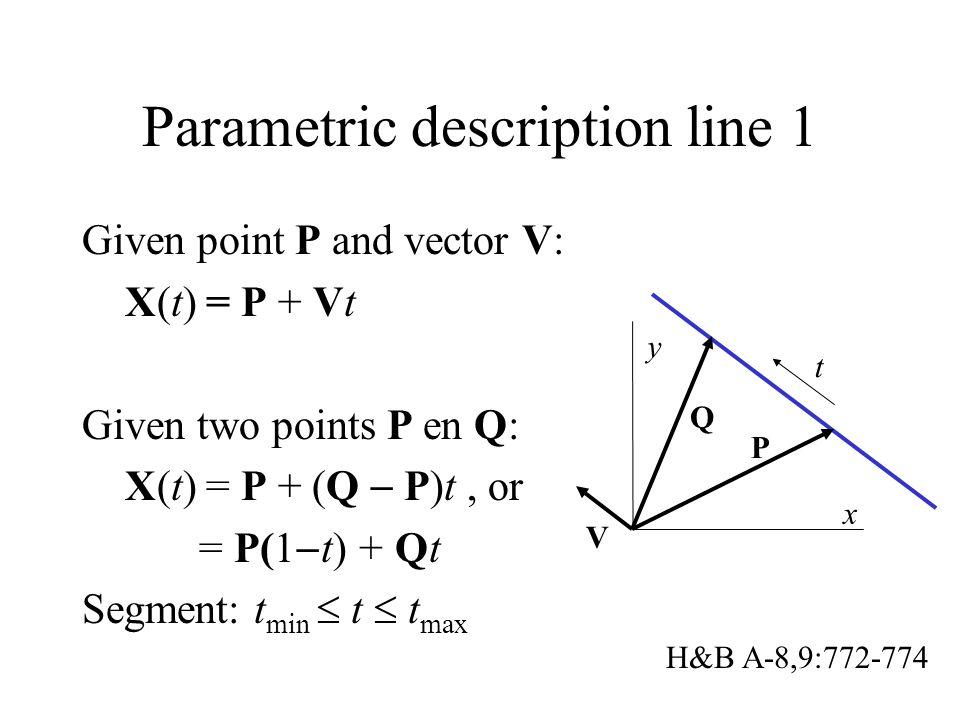 Parametric description line 1 Given point P and vector V: X(t) = P + Vt Given two points P en Q: X(t) = P + (Q  P)t, or = P(1  t) + Qt Segment: t min  t  t max x y P V t Q H&B A-8,9:772-774