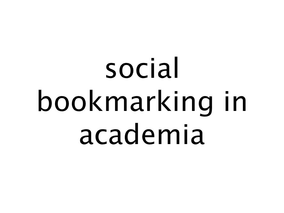 social bookmarking in academia