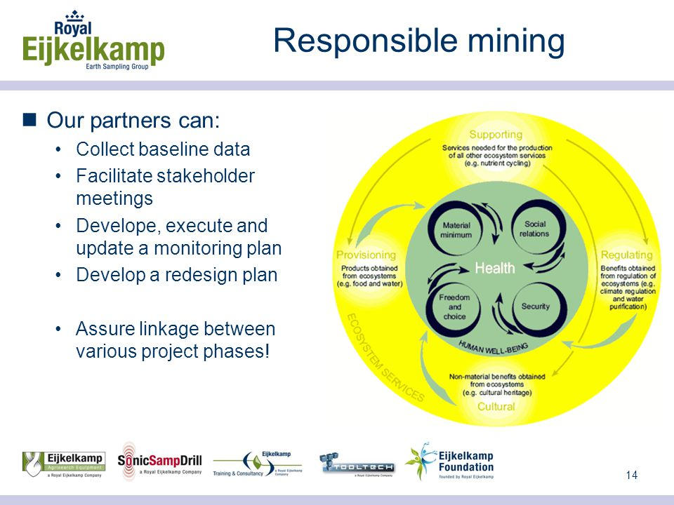 14 Responsible mining Our partners can: Collect baseline data Facilitate stakeholder meetings Develope, execute and update a monitoring plan Develop a redesign plan Assure linkage between various project phases!