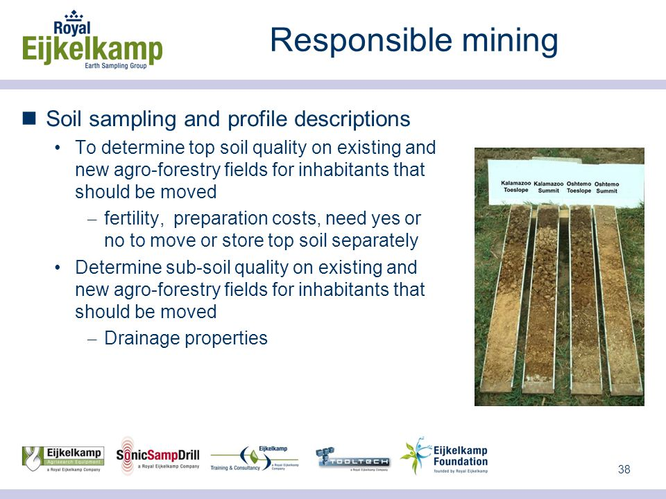 38 Responsible mining Soil sampling and profile descriptions To determine top soil quality on existing and new agro-forestry fields for inhabitants that should be moved – fertility, preparation costs, need yes or no to move or store top soil separately Determine sub-soil quality on existing and new agro-forestry fields for inhabitants that should be moved – Drainage properties