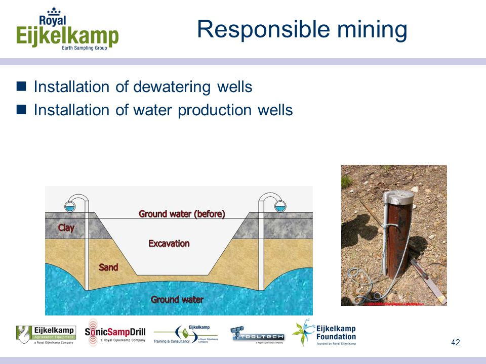 42 Responsible mining Installation of dewatering wells Installation of water production wells