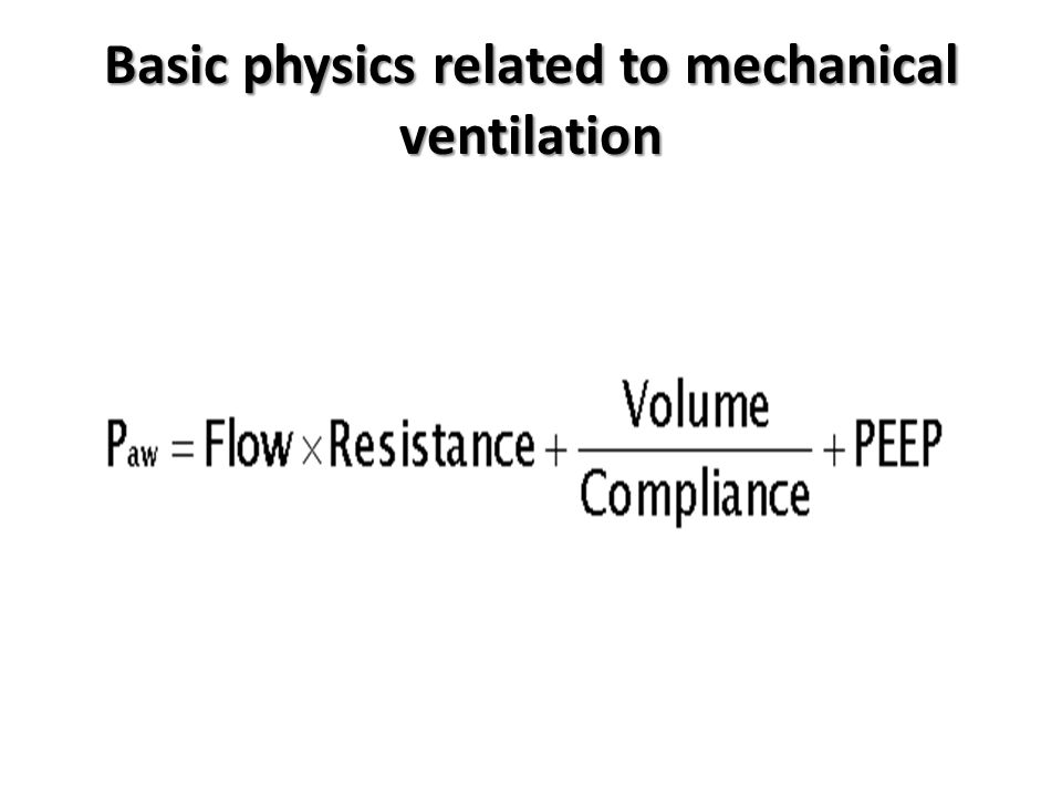 Pressure at point B is equivalent to the alveolar pressure and is determined by the volume inflating the alveoli divided by the compliance of the alveoli plus the baseline pressure (PEEP) Pressure at point A (equivalent to airway pressure measured by the ventilator) is the sum of the product of flow and resistance due to the tube and the pressure at point B.