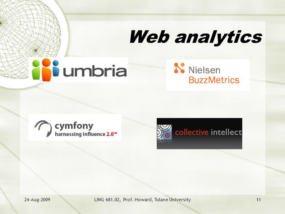 24-Aug-2009LING 681.02, Prof. Howard, Tulane University11 Web analytics