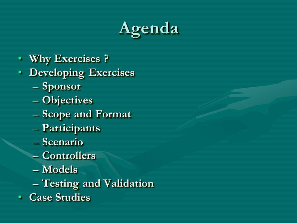 AgendaAgenda Why Exercises Why Exercises .