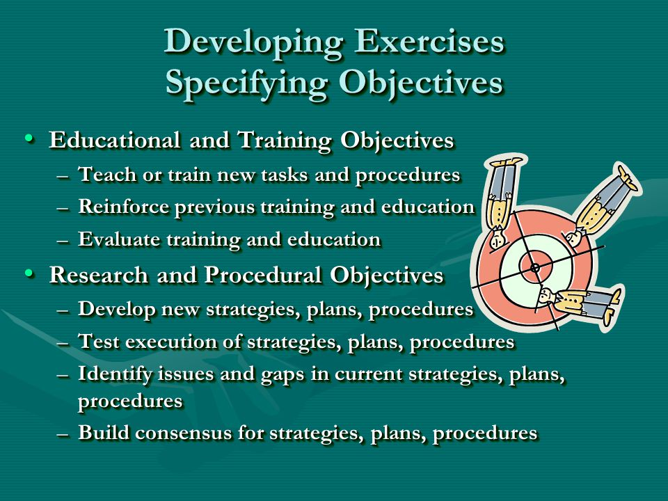 Developing Exercises Specifying Objectives Educational and Training Objectives Educational and Training Objectives –Teach or train new tasks and procedures –Reinforce previous training and education –Evaluate training and education Research and Procedural Objectives Research and Procedural Objectives –Develop new strategies, plans, procedures –Test execution of strategies, plans, procedures –Identify issues and gaps in current strategies, plans, procedures –Build consensus for strategies, plans, procedures Educational and Training Objectives Educational and Training Objectives –Teach or train new tasks and procedures –Reinforce previous training and education –Evaluate training and education Research and Procedural Objectives Research and Procedural Objectives –Develop new strategies, plans, procedures –Test execution of strategies, plans, procedures –Identify issues and gaps in current strategies, plans, procedures –Build consensus for strategies, plans, procedures