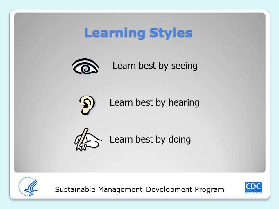 Sustainable Management Development Program Learning Styles Learn best by seeing Learn best by hearing Learn best by doing