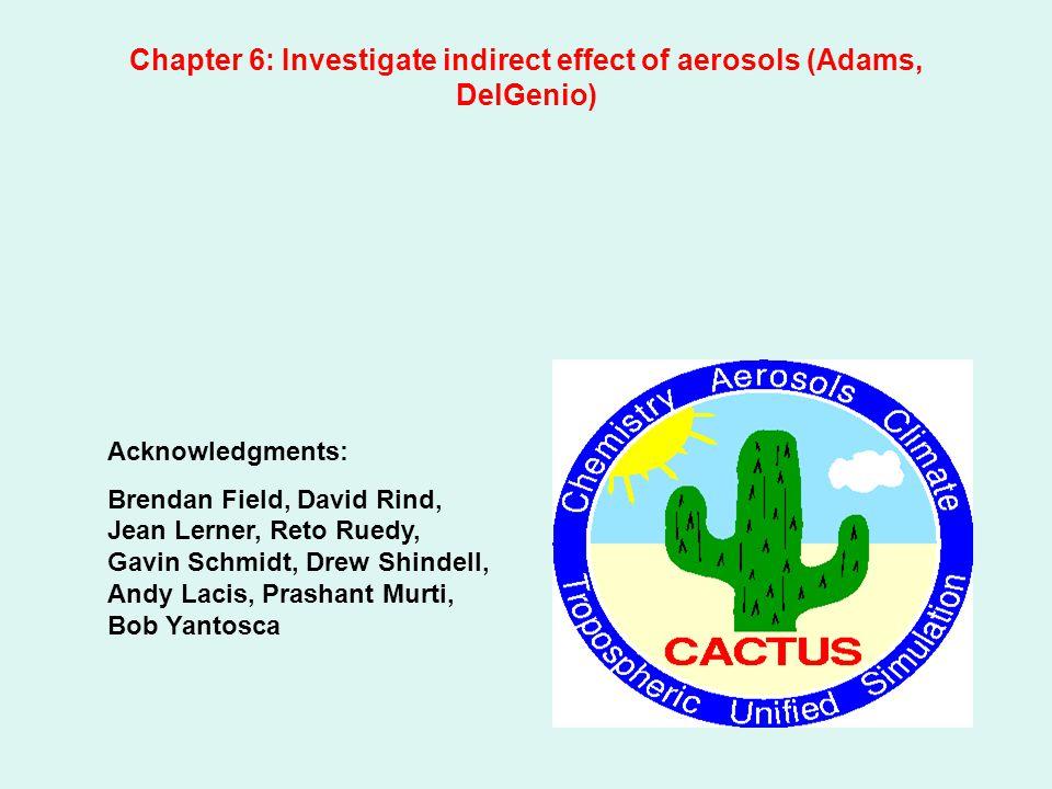 Chapter 6: Investigate indirect effect of aerosols (Adams, DelGenio) Acknowledgments: Brendan Field, David Rind, Jean Lerner, Reto Ruedy, Gavin Schmidt, Drew Shindell, Andy Lacis, Prashant Murti, Bob Yantosca