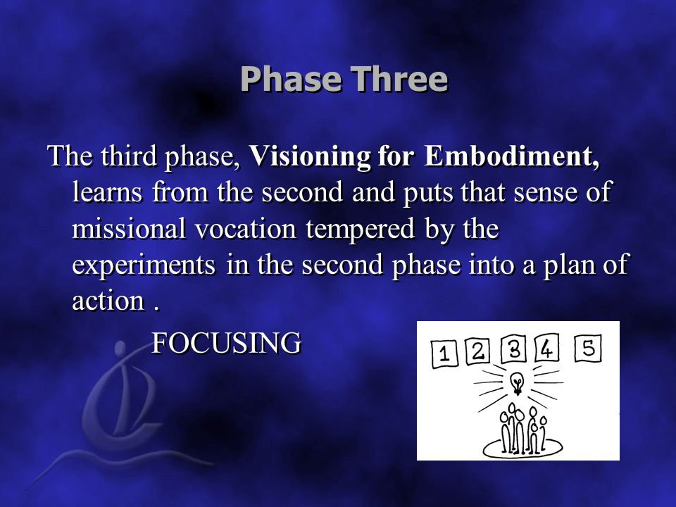 Phase Three The third phase, Visioning for Embodiment, learns from the second and puts that sense of missional vocation tempered by the experiments in the second phase into a plan of action.