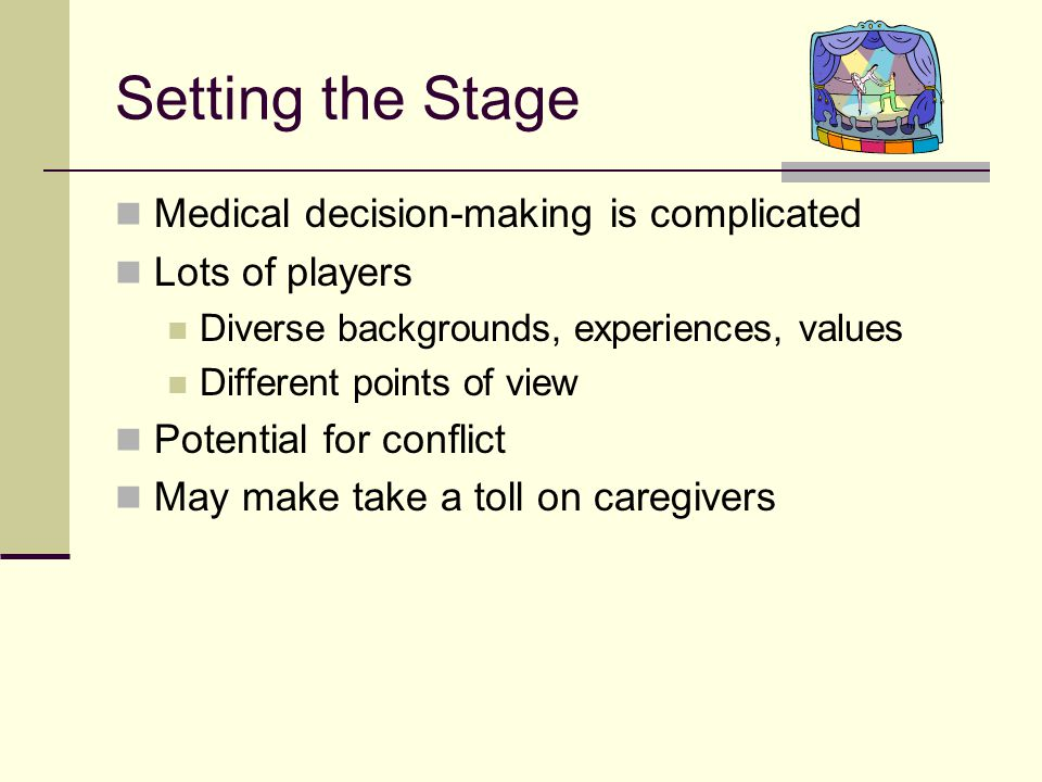 Objectives Describe players and perspectives Review challenges of surrogate decision- making Discuss things YOU can do Before During After