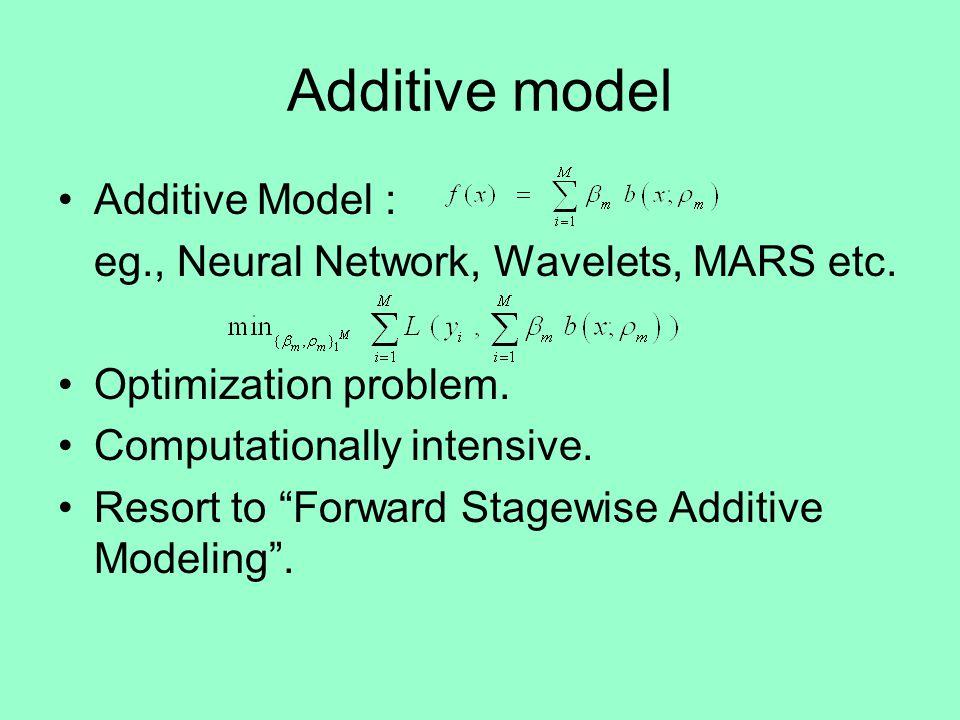 Additive model Additive Model : eg., Neural Network, Wavelets, MARS etc.