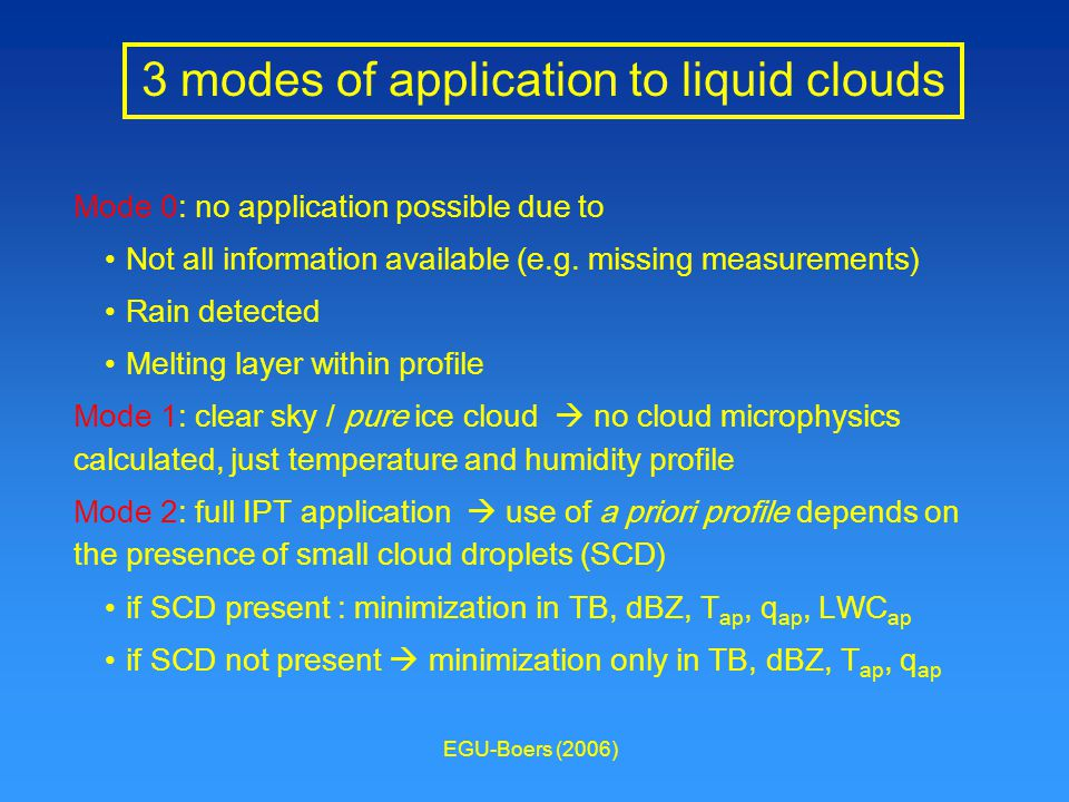 EGU-Boers (2006) 3 modes of application to liquid clouds Mode 0: no application possible due to Not all information available (e.g.