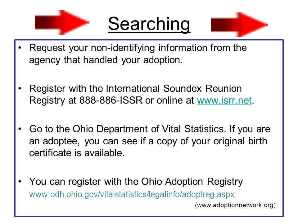 Search Resources Adoptees Search Rights Association (*Search support) P.O.