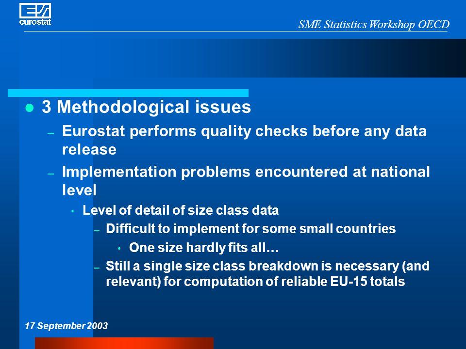 SME Statistics Workshop OECD 17 September 2003 3 Methodological issues – Eurostat performs quality checks before any data release – Implementation pro