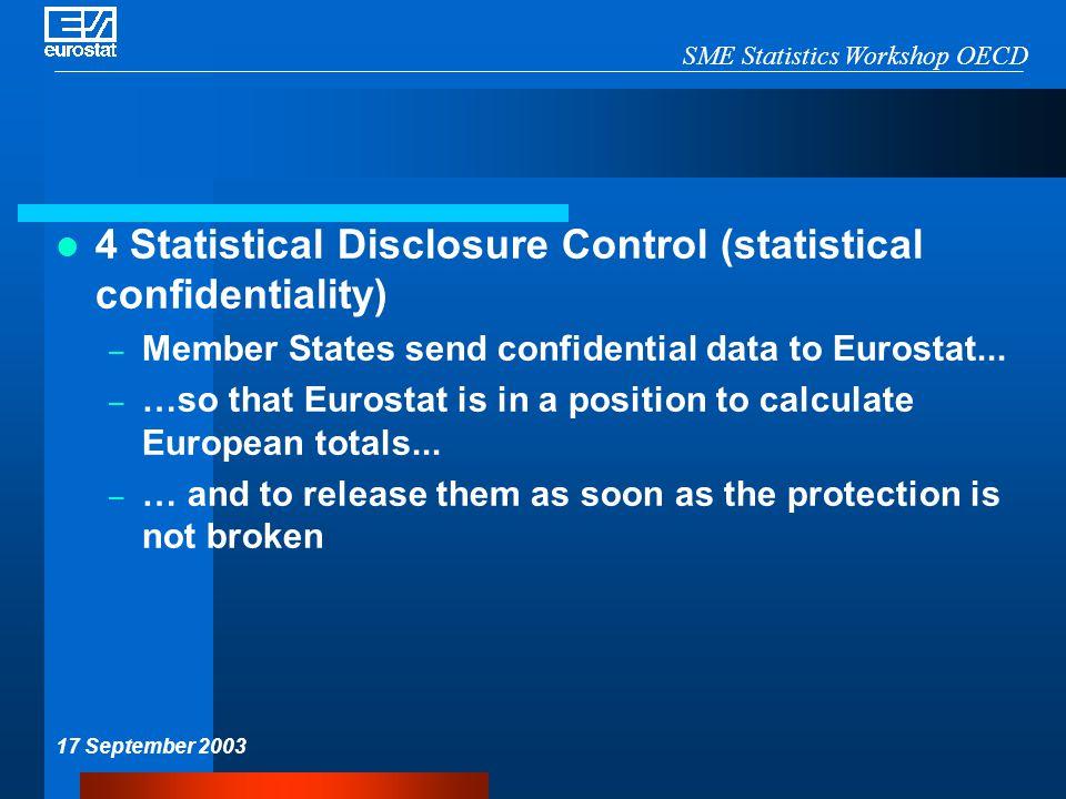 SME Statistics Workshop OECD 17 September 2003 4 Statistical Disclosure Control (statistical confidentiality) – Member States send confidential data to Eurostat...