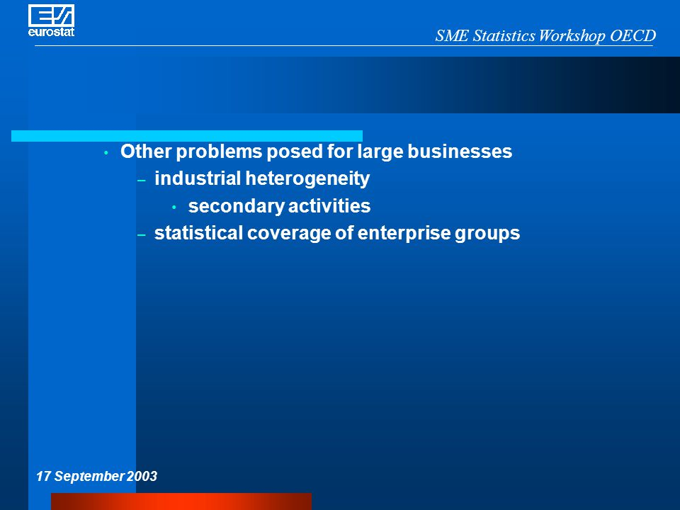 SME Statistics Workshop OECD 17 September 2003 Other problems posed for large businesses – industrial heterogeneity secondary activities – statistical coverage of enterprise groups