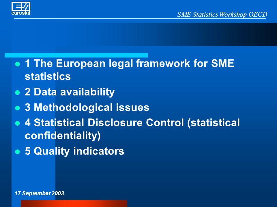 SME Statistics Workshop OECD 17 September 2003 1 The European legal framework for SME statistics 2 Data availability 3 Methodological issues 4 Statist