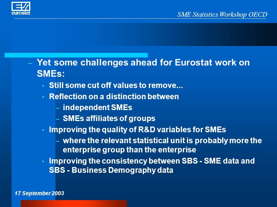 SME Statistics Workshop OECD 17 September 2003 – Yet some challenges ahead for Eurostat work on SMEs: Still some cut off values to remove... Reflectio