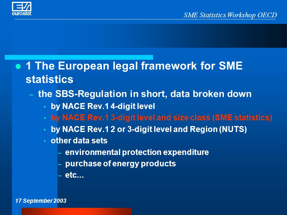 SME Statistics Workshop OECD 17 September 2003 1 The European legal framework for SME statistics – the SBS-Regulation in short, data broken down by NACE Rev.1 4-digit level by NACE Rev.1 3-digit level and size class (SME statistics) by NACE Rev.1 2 or 3-digit level and Region (NUTS) other data sets – environmental protection expenditure – purchase of energy products – etc...
