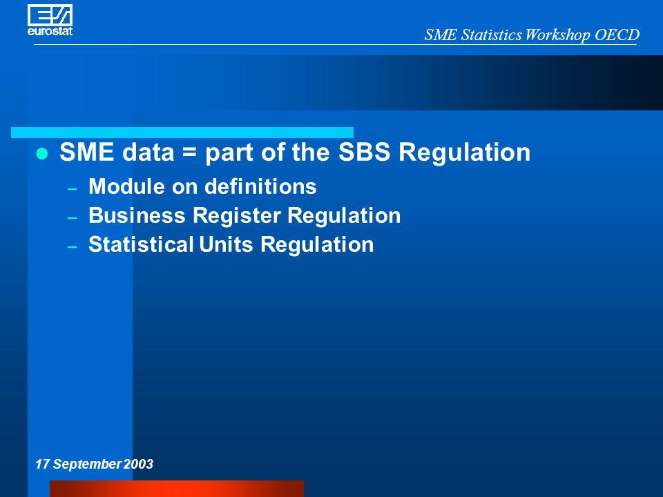 SME Statistics Workshop OECD 17 September 2003 SME data = part of the SBS Regulation – Module on definitions – Business Register Regulation – Statistical Units Regulation