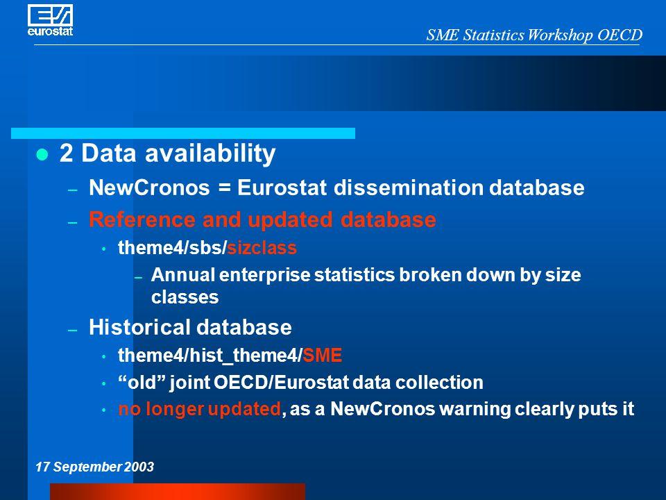SME Statistics Workshop OECD 17 September 2003 2 Data availability – NewCronos = Eurostat dissemination database – Reference and updated database them