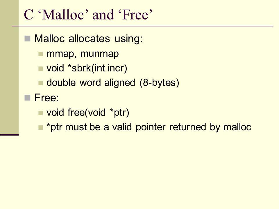 Very useful macros #define HDRP(bp) ((char *)(bp) - WSIZE) #define FTRP(bp) ((char *)(bp) + GET_SIZE(HDRP(bp)) - DSIZE) #define NEXT_BLKP(bp) ((char *)(bp) + GET_SIZE(((char *)(bp) - WSIZE))) #define PREV_BLKP(bp) ((char *)(bp) - GET_SIZE(((char *)(bp) - DSIZE)))
