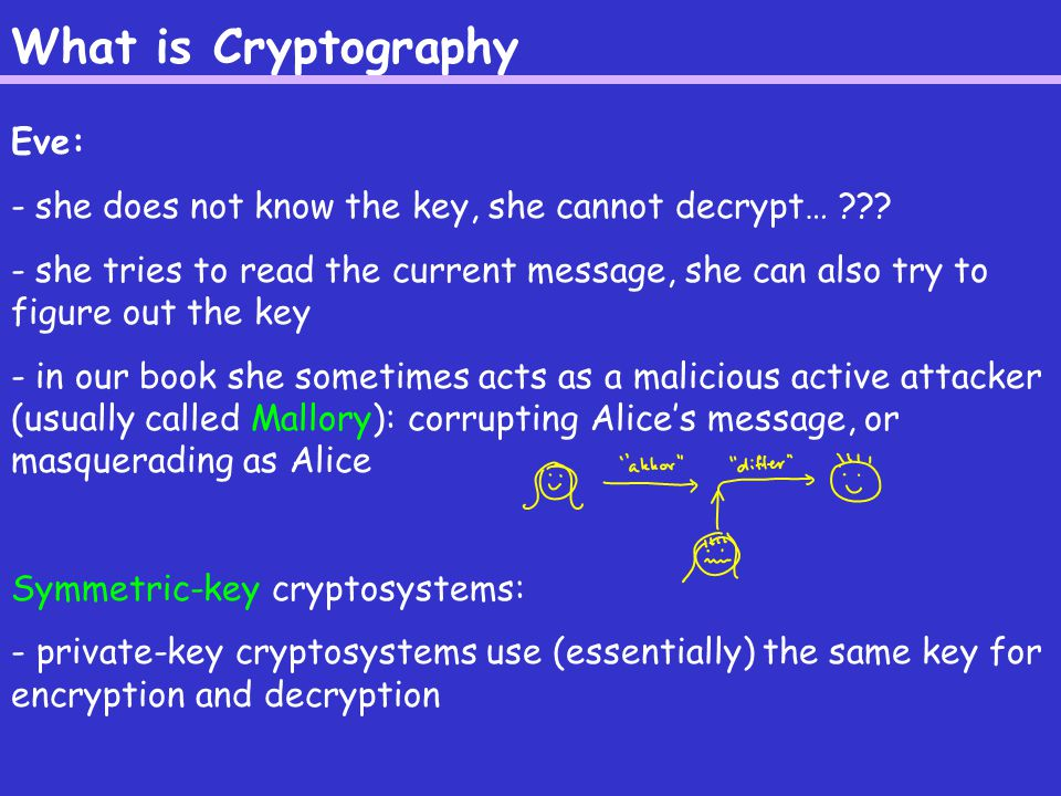What is Cryptography Eve: - she does not know the key, she cannot decrypt… .