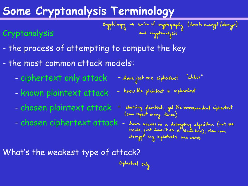 Some Cryptanalysis Terminology Cryptanalysis - the process of attempting to compute the key - the most common attack models: - ciphertext only attack - known plaintext attack - chosen plaintext attack - chosen ciphertext attack What's the weakest type of attack