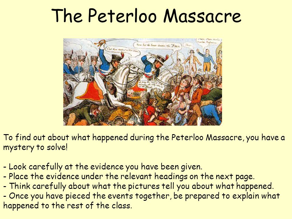 To find out about what happened during the Peterloo Massacre, you have a mystery to solve! - Look carefully at the evidence you have been given. - Pla