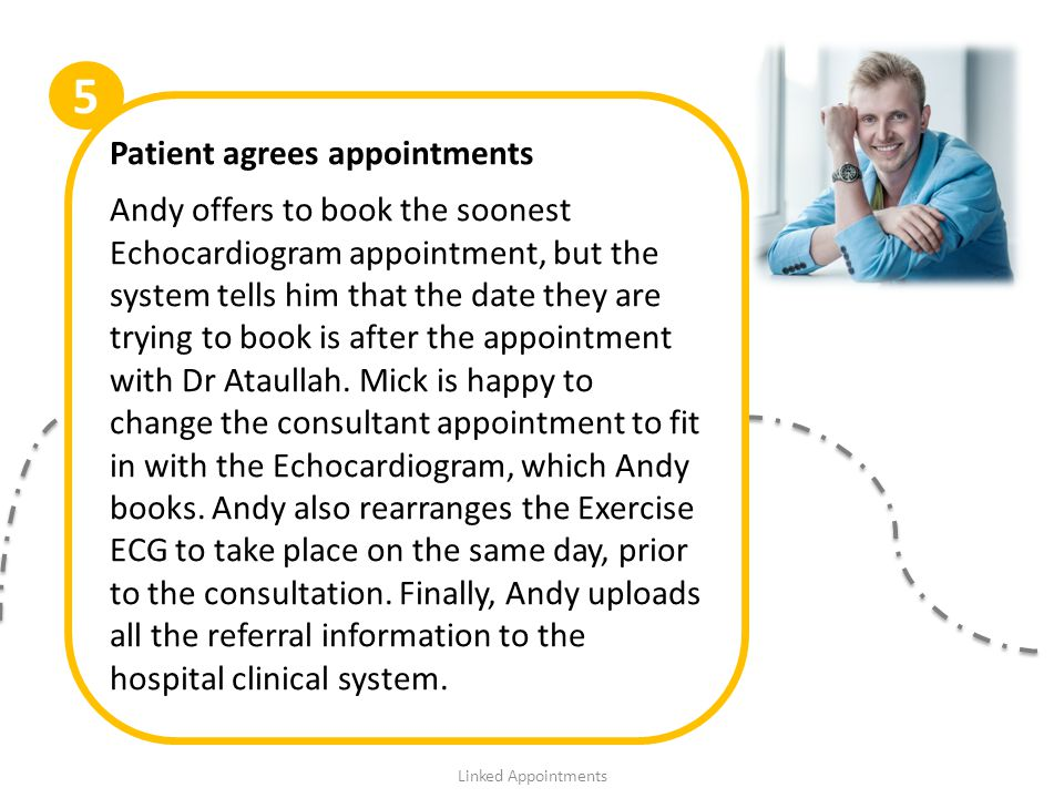 Patient agrees appointments Andy offers to book the soonest Echocardiogram appointment, but the system tells him that the date they are trying to book is after the appointment with Dr Ataullah.