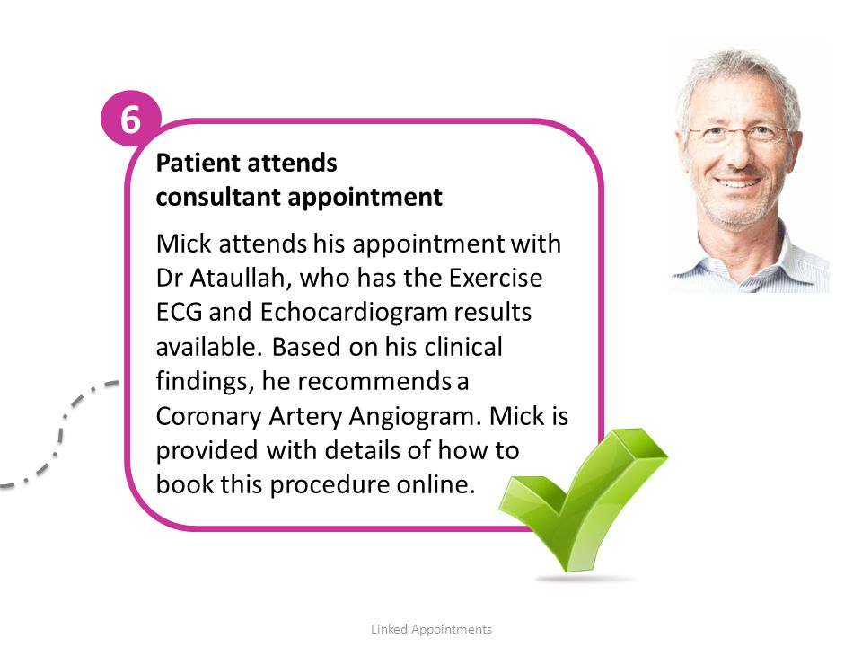Patient attends consultant appointment Mick attends his appointment with Dr Ataullah, who has the Exercise ECG and Echocardiogram results available.