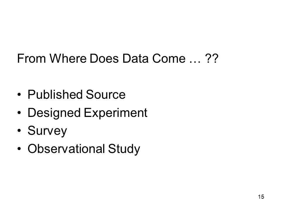 15 From Where Does Data Come … ?? Published Source Designed Experiment Survey Observational Study