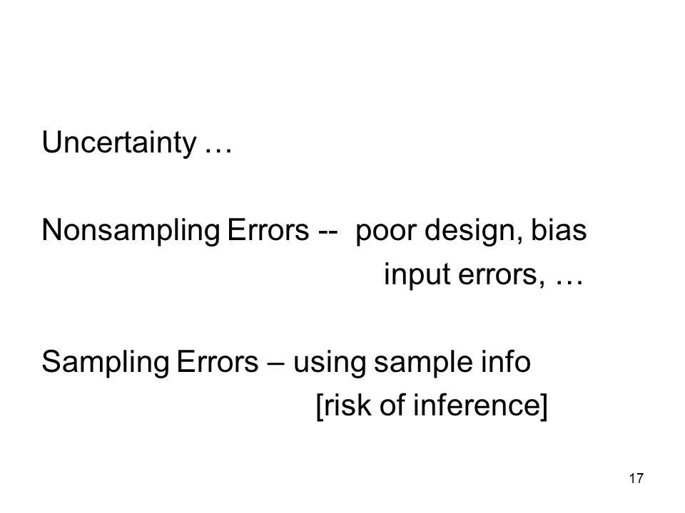 17 Uncertainty … Nonsampling Errors -- poor design, bias input errors, … Sampling Errors – using sample info [risk of inference]