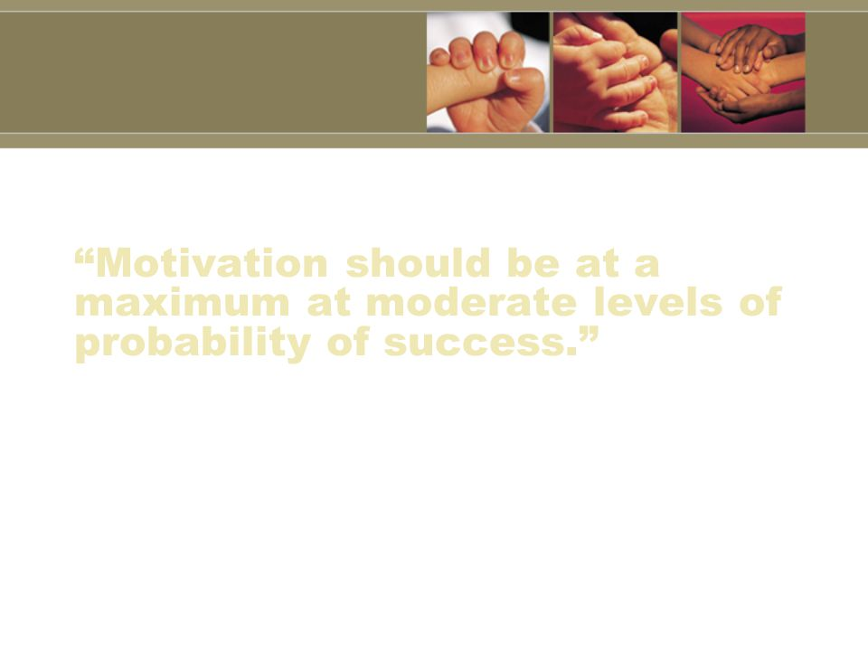 Motivation should be at a maximum at moderate levels of probability of success.