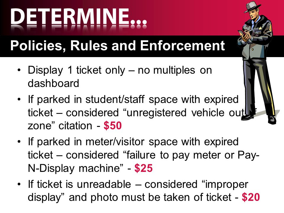"Policies, Rules and Enforcement Display 1 ticket only – no multiples on dashboard If parked in student/staff space with expired ticket – considered ""u"