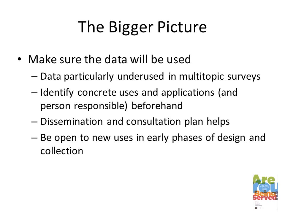 The Bigger Picture Make sure the data will be used – Data particularly underused in multitopic surveys – Identify concrete uses and applications (and person responsible) beforehand – Dissemination and consultation plan helps – Be open to new uses in early phases of design and collection
