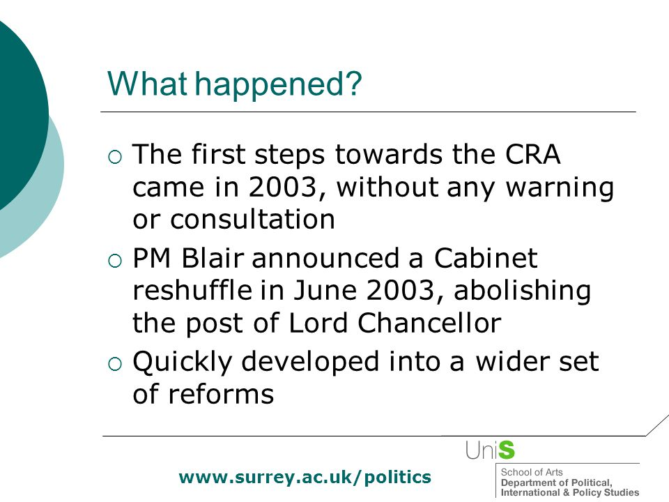 www.surrey.ac.uk/politics What happened?  The first steps towards the CRA came in 2003, without any warning or consultation  PM Blair announced a Ca