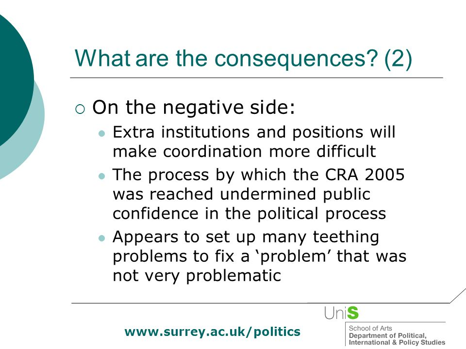 www.surrey.ac.uk/politics What are the consequences? (2)  On the negative side: Extra institutions and positions will make coordination more difficul