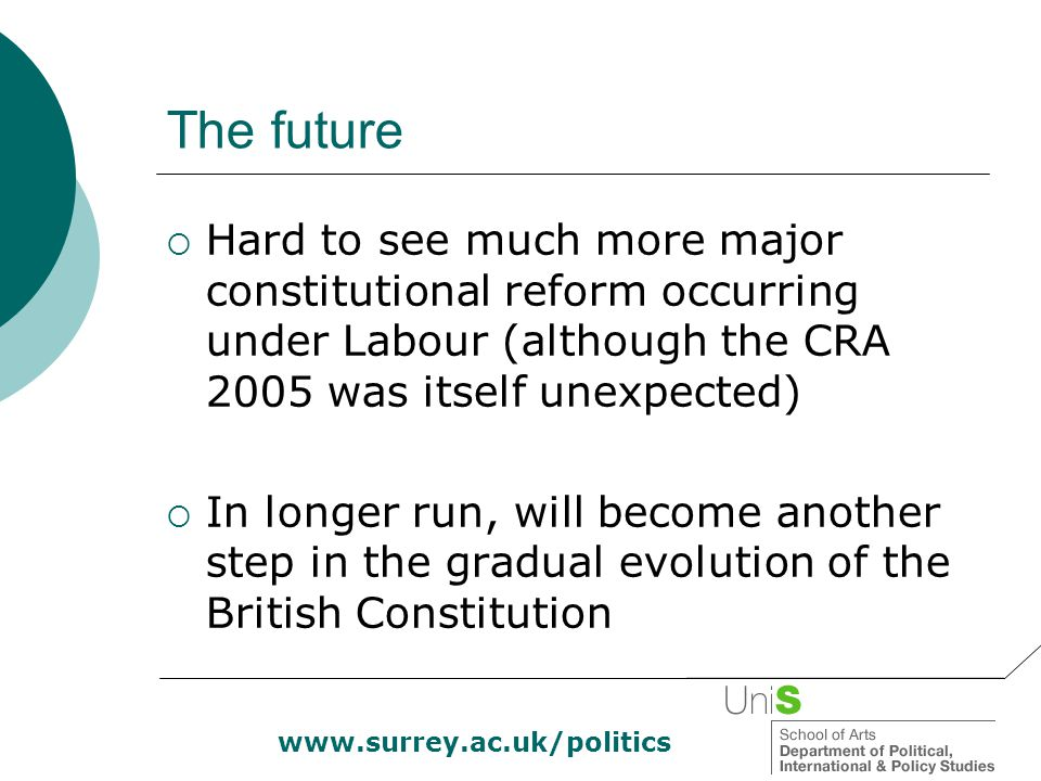 www.surrey.ac.uk/politics The future  Hard to see much more major constitutional reform occurring under Labour (although the CRA 2005 was itself unex