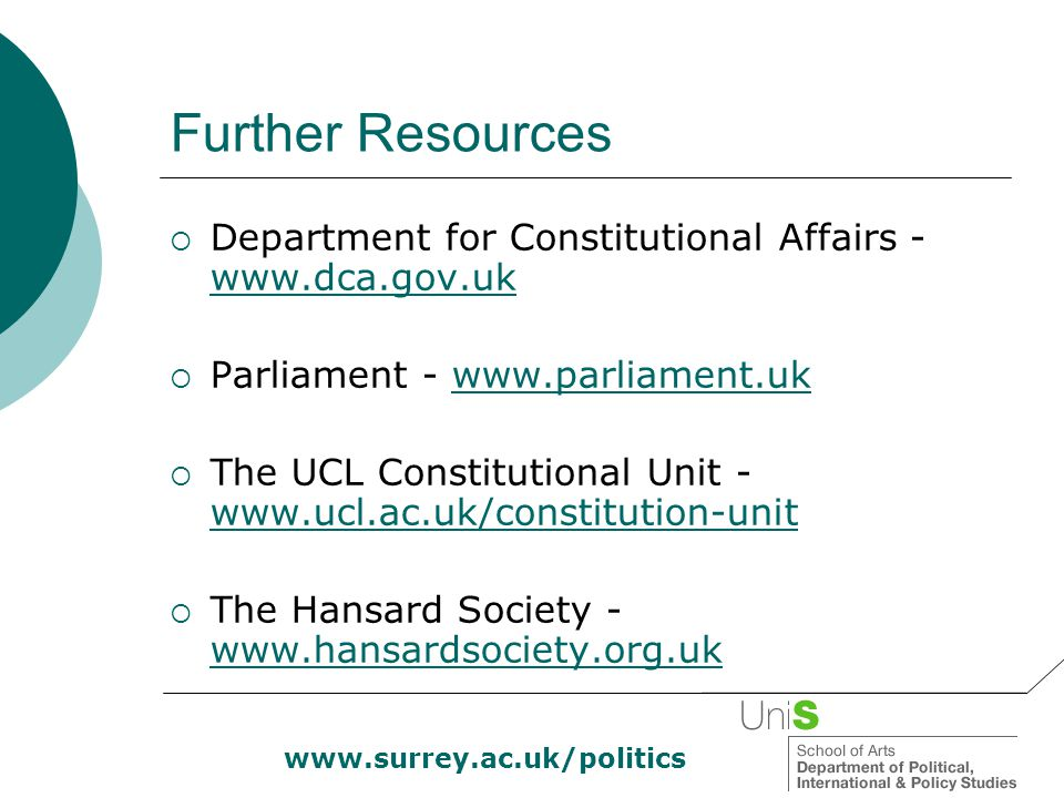 www.surrey.ac.uk/politics Further Resources  Department for Constitutional Affairs - www.dca.gov.uk www.dca.gov.uk  Parliament - www.parliament.ukww
