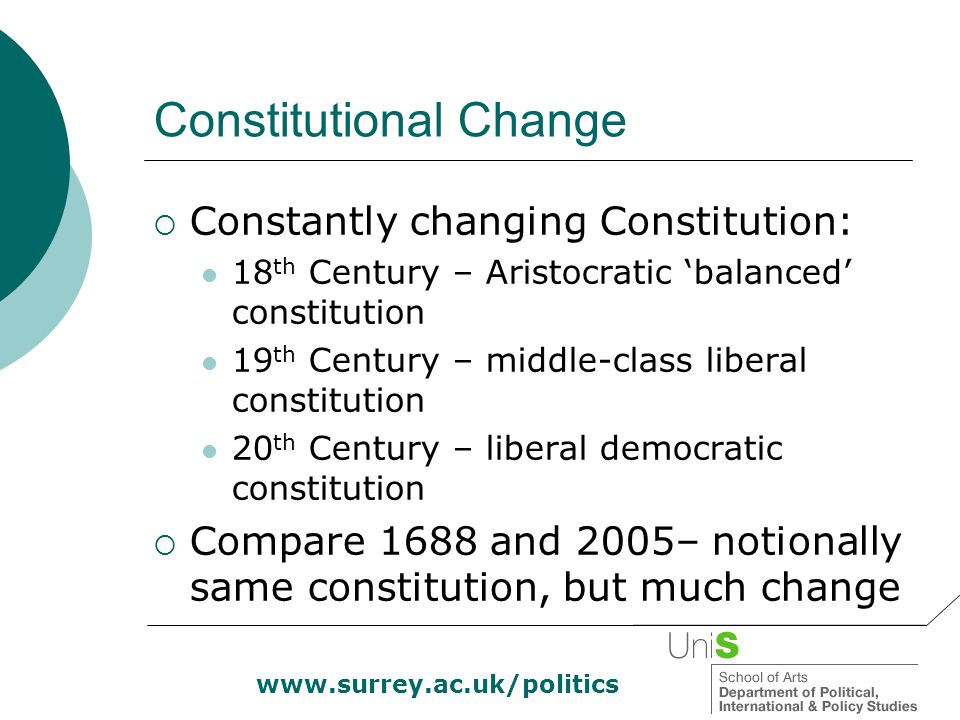 www.surrey.ac.uk/politics Constitutional Reform Act 2005 (2)  New Supreme Court formed, with independently appointed members  Will move into new buildings in Middlesex Guildhall in 2008  Lords will lose its judicial functions