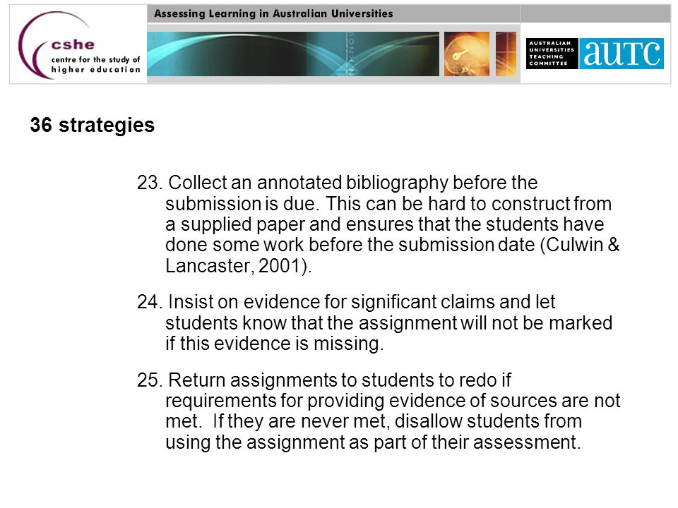 36 strategies 23.Collect an annotated bibliography before the submission is due.